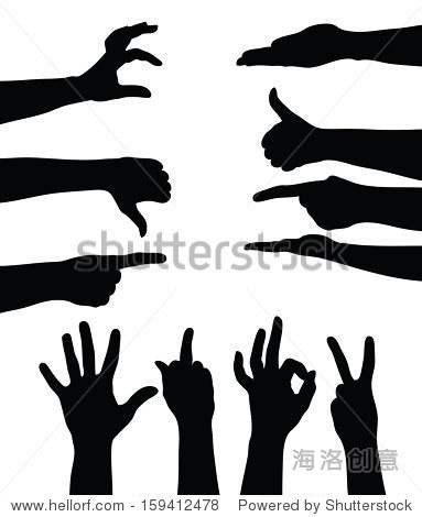 白色背景上的手的影子(矢量图)