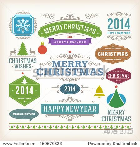 圣诞装饰向量设计元素集合.排版元素,复古标签,框架,丝带,集.书法.图片