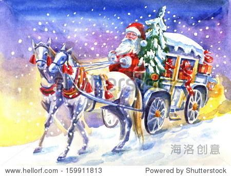 圣诞老人的马车的马.水彩画.