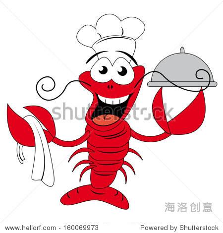 龙虾厨师拿着一个盘子,有趣的矢量图 - 动物/野生生物