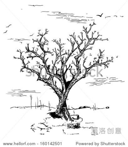 黑白手绘插画的树