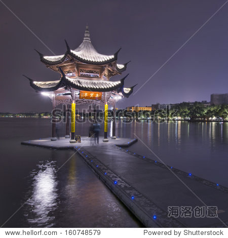Hangzhou, China pavilion at night