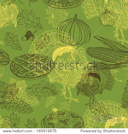 重复的抽象背景.手绘插图与,玉米