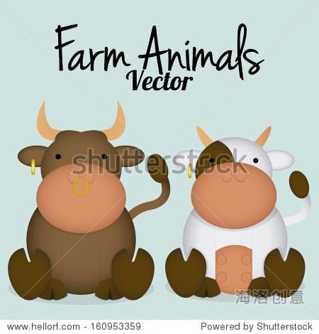 向量卡通可爱的公牛和母牛夫妇