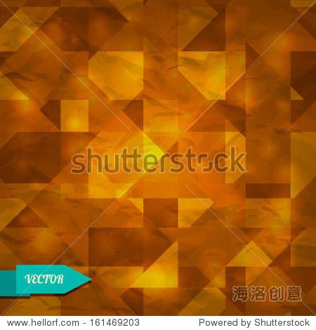 橙色与三角形几何背景——向量-背景/素材