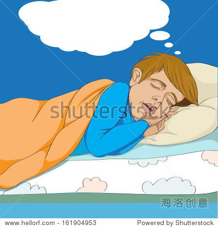 手绘插图的小孩在床上睡觉和做梦在云对话泡沫