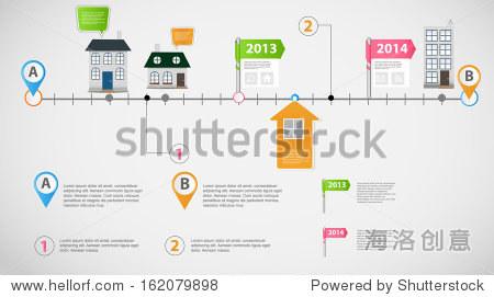 时间轴信息业务模板向量插图