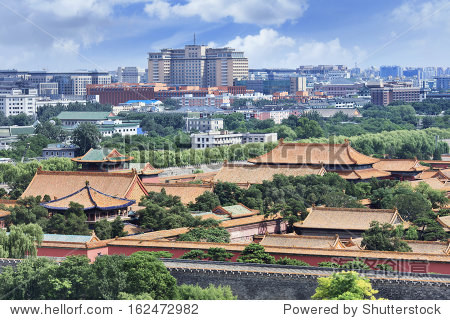 Skyline of Beijing with Palace Museum on the foreground
