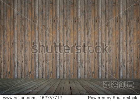 老枯燥乏味的老式房间木板地板和墙壁背景图片