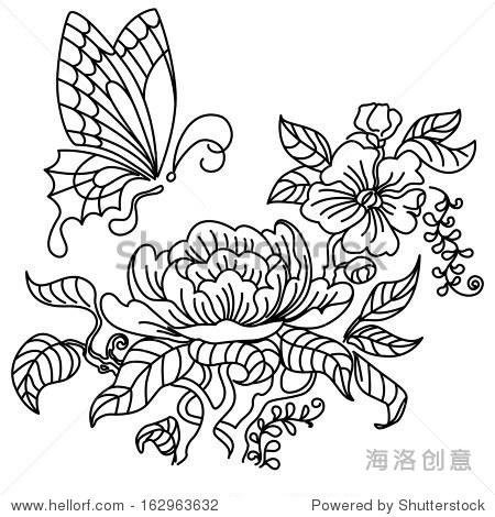 牡丹和蝴蝶.黑白画.