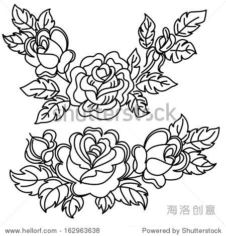 玫瑰,花朵和叶子.黑白画.