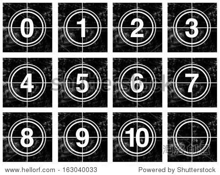 图标的白色圆圈的数字电影黑色难看的东西背景上的倒计时,可用单一