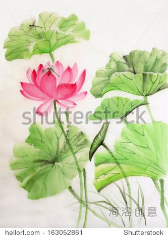 莲花和蜻蜓水彩画,原始艺术,亚洲风格