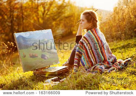 年轻的艺术家绘画一个秋天的风景 - 艺术,人物 - 站酷