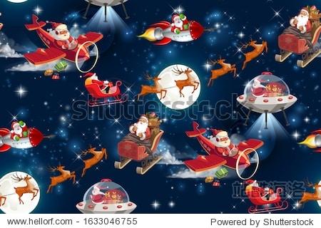 Christmas in space.seamless pattern. noel illustration. Santa Claus deer galaxy moon.