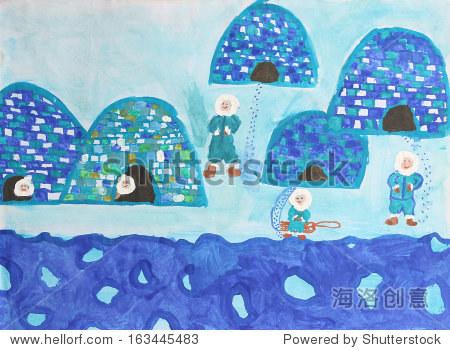 孩子水彩画:爱斯基摩人的冰屋图片