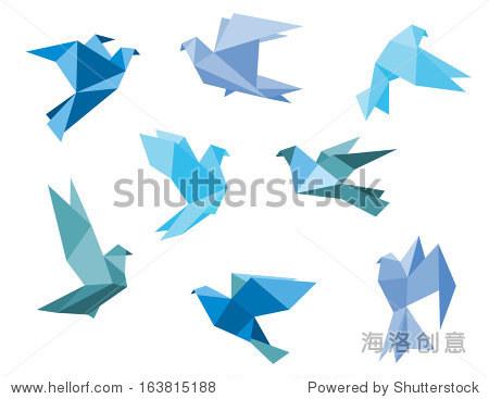 纸鸽子,鸽子在折纸风格 - 动物/野生生物,符号/标志 -