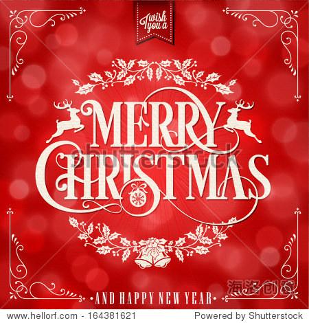 我祝你圣诞快乐和新年快乐的圣诞背景与排版图片