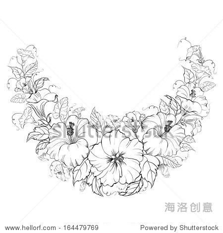 木槿花环孤立在白色背景.插图.