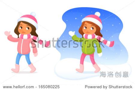 可爱的小女孩在冬天的衣服,面带微笑,挥动的手 - 人物