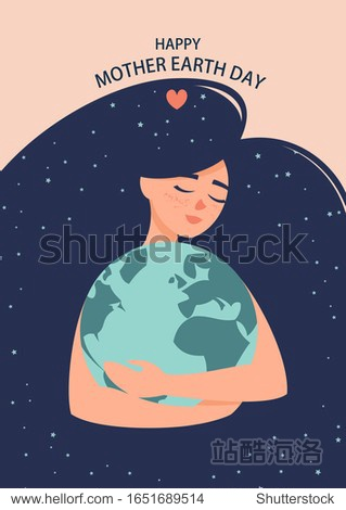 Vector illustration of a woman with a globe in her hands and the text happy mother earth day