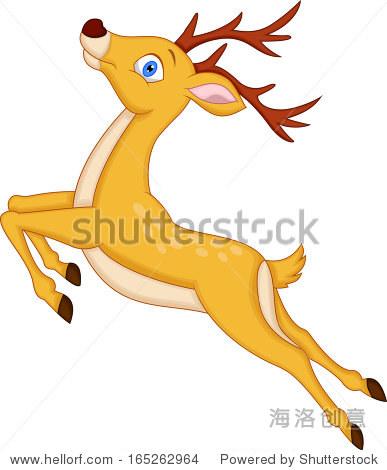 可爱的鹿卡通跳