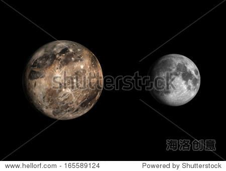 呈现大小比较的木星的月亮木星和地球月球放在干净的