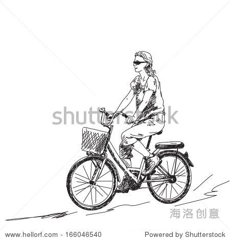 素描的女人在自行车向量