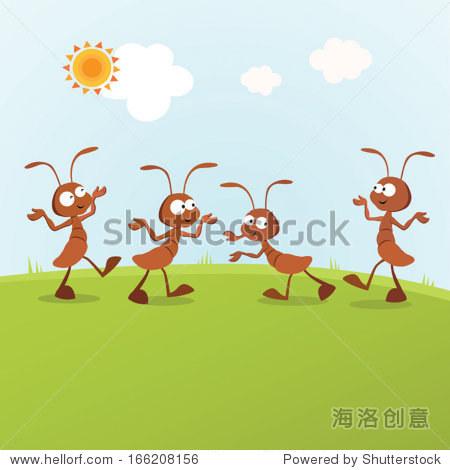 幽默的蚂蚁.矢量图的蚂蚁在阳光下活动.