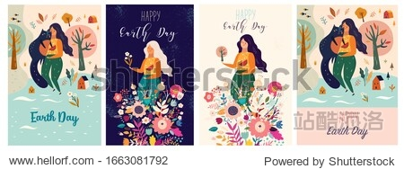 Happy Earth Day Vector templates with woman  flowers  nature and cat. Collection of holiday spring illustrations