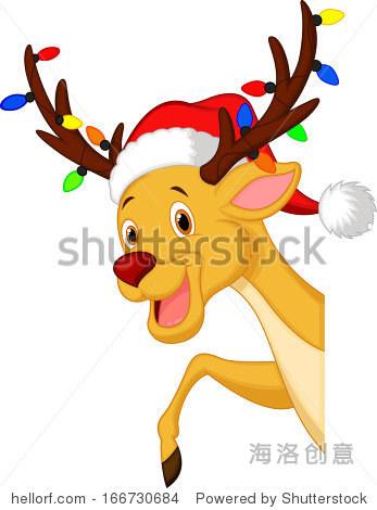 可爱的鹿卡通灯泡和red hat