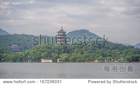 Pagoda(Leifeng tower) in Xihu Lake, Hangzou, China.