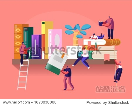 Reading and Education Concept with Tiny Male and Female Character on Shelf with Huge Books. People Read and Study  Students Prepare for Examination  Gaining Knowledges. Cartoon Vector Illustration