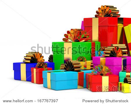 堆圣诞礼物盒与弓.3 d演示.