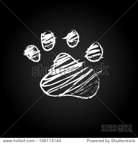 动物猫狗爪子.黑板黑矢量图