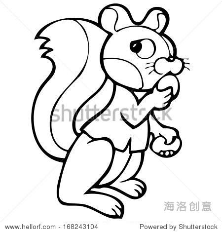 一只松鼠的黑白卡通矢量插图.彩色书.