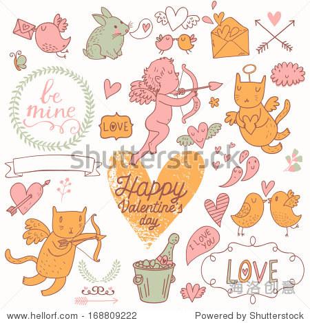 可爱的丘比特画像,猫,兔子,鸟,香槟,信封,心和其他设计元素