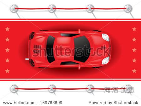 汽车顶视图在红地毯上——矢量插图