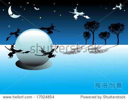 抽象的彩色背景,月亮,星星,树木和女巫飞行在一个巨大