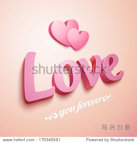 Realistic pink Love sign with hearts