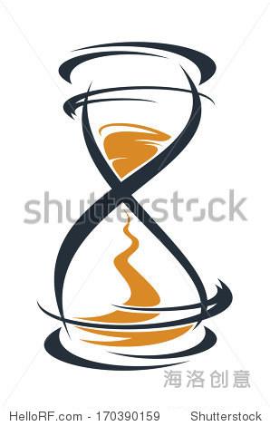 鸦画的程式化的沙漏计时器标志用沙子穿过灯泡测量之间的传递时