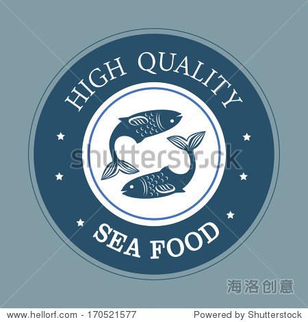 海鲜在蓝色背景矢量图设计