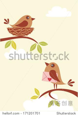 可爱的小鸟在树枝拿着信封的情书.