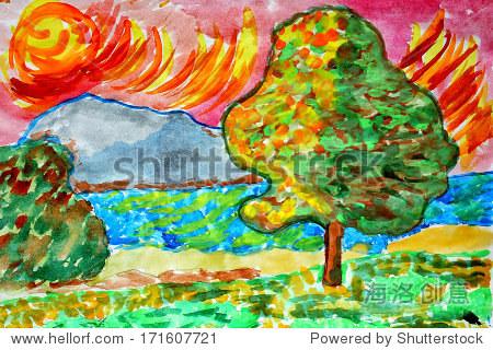 自然风景水彩画树水夏天天空树森林河流湖绿色草春天梵高的风格
