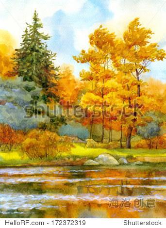 水彩风景.秋天的森林在湖上