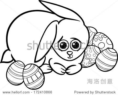 黑色和白色卡通可爱的复活节兔子的矢量插图彩色书的
