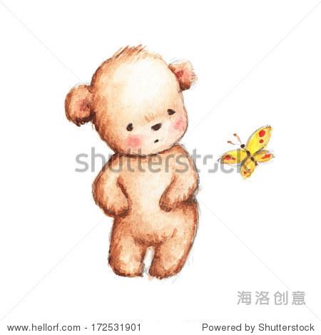 与黄蝴蝶画可爱的泰迪熊-动物/野生生物