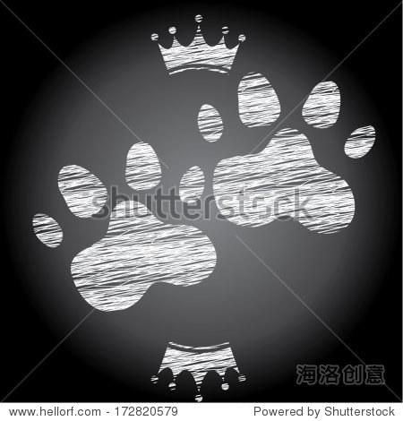 动物的爪子黑板背景的概念.矢量图