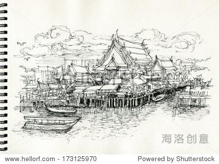 手绘插图的地方房子沿着运河,曼谷,泰国 - 建筑物