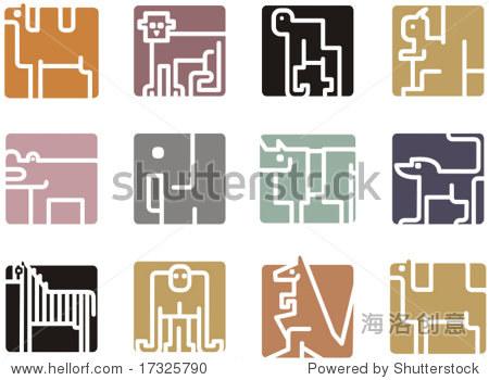 广场的动物图标系列——非洲动物.